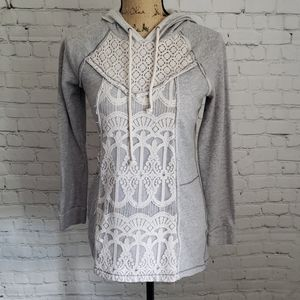 Grey Crochet Lace Panel Front Maurice's Hoodie